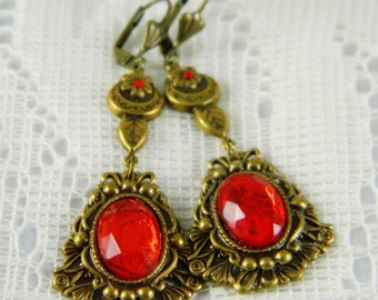 Earrings, Red Earrings, Red Dangle Earrings, Red Orange, Antiqued Brass Earrings, Red Faceted, Lever Back Wires
