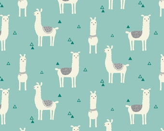 Snuggle Flannel Prints - Tossed Llama Teal - Sold by the Yard