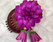 Angela's pretty flower leather hair comb and bun holder