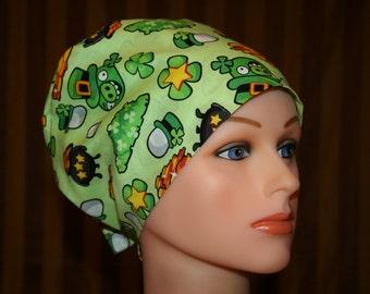 Tie Back Surgical Scrub Hat/Chemo Hat--Bad Piggy Leprechaun