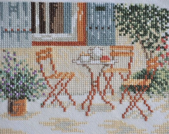 Finished / Completed Cross Stitch - Lanarte - Brown terrace ( 34819 ) crossstitch counted cross stitch
