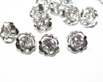 Silver Look Acrylic Buttons with Rhinestone 30 pcs.