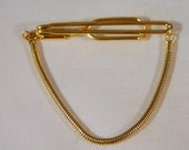 Gold Tie Clip with Goldtone Snake Chain Loop / Vintage 1950s Mens Tie Clip / Mens Accessories / Mad Men Style