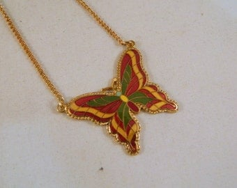 Vintage Sarah Coventry Neon Butterfly Necklace / 1970s Goldtone Pendant Necklace in the Original Box New Old Stock Vintage Jewelry