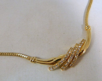 Avon Vintage Gold and Rhinestone Choker Necklace / Ornate Bar Necklace with Clear Rhinestone Accents from Avon / 1970s Jewelry