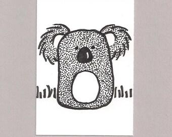 ACEO,  ATC, Koala Bear, Original, Art Trading Card, Hand Drawn, Kid Friendly, Black and White