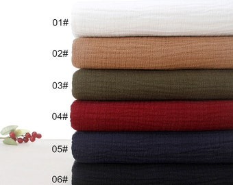 Pure Linen Fabric, Gauze Creases Fold fabric, Per Washed Linen Fabric- Half Yard (QT950)
