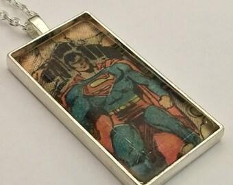 Superman Necklace, Superhero Necklace, Comic Book Necklace, Metropolis, Man of Steel Necklace, Krypton Necklace