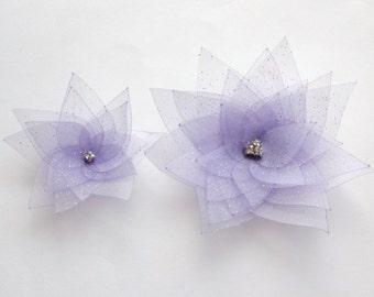 2 Lavender Purple Organza Flowers Embellishment