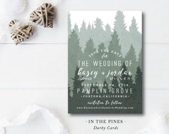 In the Pines Printed Save the Dates | Wedding Save the Date | Forest and Pine | Printed by Darby Cards Collective