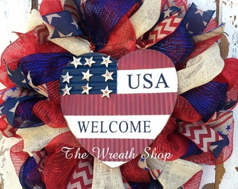 Patriotic Mesh Wreath with USA Welcome Heart