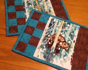 Mug Rugs, Brown Bears mug rugs, quilted mug rugs, snack mat, hostess gift