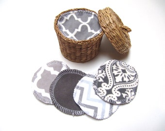 Reusable Facial Rounds, 30 GREY Mix Cosmetic Rounds, Makeup Remover Pads, Eco-Friendly Face Scrubbies, Add on Wash Bag