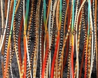 Bulk 100 Premium Natural and Color Mix Hair Feathers Extensions Make Your Own Bundles Kit Lot
