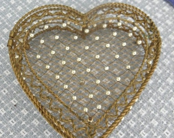 25% OFF Vintage Valentines Heart Shaped Brass & Silver Box, Brass Accessory, Make-up Box