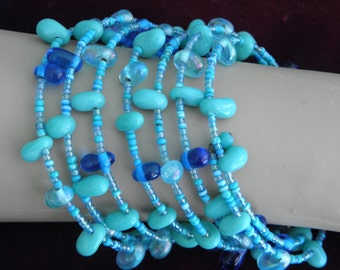 Multi Turquoise & Glass Beaded Memory Wrap Vintage Bracelet, 1970's