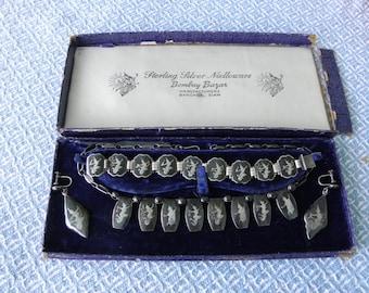 50's 3PC Siam Sterling Silver Nielloware, Necklace, Bracelet & Earrings, Dancers, Goddess, OriginalBox, Bombay Bazar