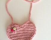 Dusty Rose heart purse, Valentines Day crochet purse, heart purse with flowers, pink purse, toddler purse, crochet purse