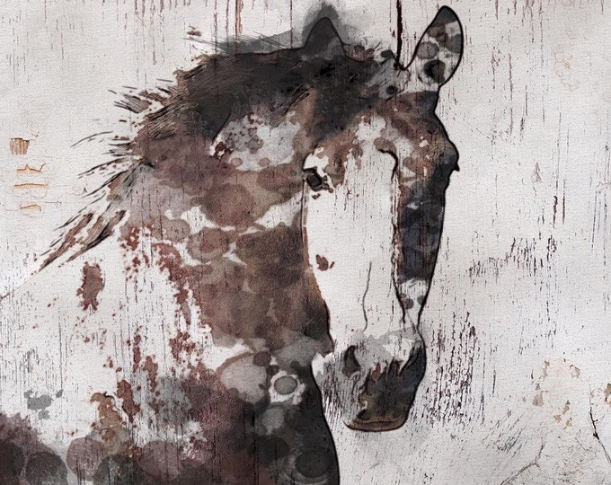 """SALE Gorgeous Horse. Extra Large Horse, Horse Wall Decor, Brown Rustic Horse, Large Contemporary Canvas Art Print up to 81"""" by Irena Orlov"""