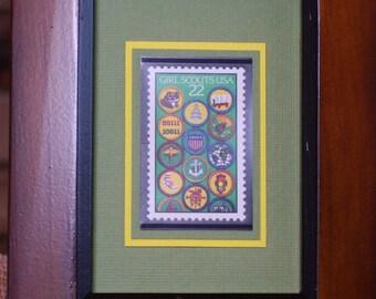 Vintage Framed Postage Stamp - Girl Scout Badges - No. 2251