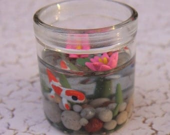 Koi Pond Corked Jar with Lily Pads and Lotus flower- Polymer Clay