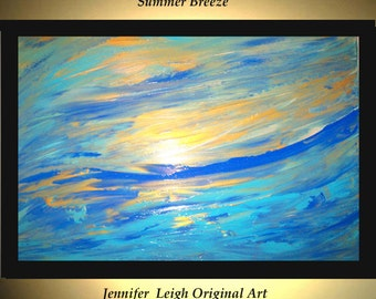 Original Large Abstract Painting Modern Acrylic Painting Oil Painting Canvas Art Gold Blue SUMMER BREEZE 36x24 Textured Wall Art  J.LEIGH