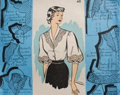 """Vintage French Sealed Unopened Sewing Pattern 1950's Patron Modèle Ladies Blouse Size 48 Bust 41"""" #51116"""