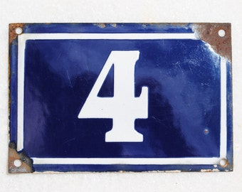Vintage French enamel cobalt blue and white house number plaque - number 4
