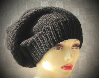 Black Mens Hats, Slouchy  Hat, Knit Black Slouch Beanie, Hand Knit Oversized Hat Winter Fashion Accessories