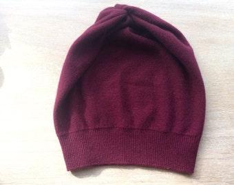 cashmere hat in wine, beanie, knit hat,cashmere gift