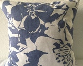 SALE**Single Pillow Cover 18x18 inch - Blue/White Large Floral Print Home Decor Fabric by P/Kaufmann