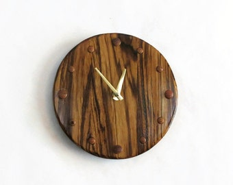 Unique Wood Wall Clock, Zebrawood Clock,  Rustic Wall Clock, Home and Living, Home Decor, Decor and Housewares