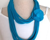 Upcycled Turquoise Blue Jersey Tee Noodle Long Scarf/Necklace with Removable Flower Clip, Recycled Repurposed T-shirt Loop Infinity Scarf