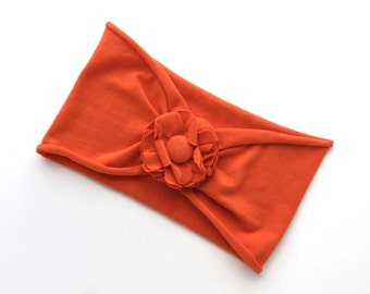 Orange Adult Jersey Headband with Flower, Upcycled from T-shirt - Woman's Teen's Headband - Recycled Tshirt Stretchy Head band