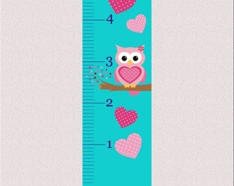 Personalized Sweet Owl Growth Chart Decal 60x12
