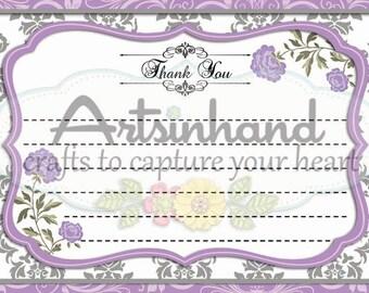 Purple Thank You Flat Card