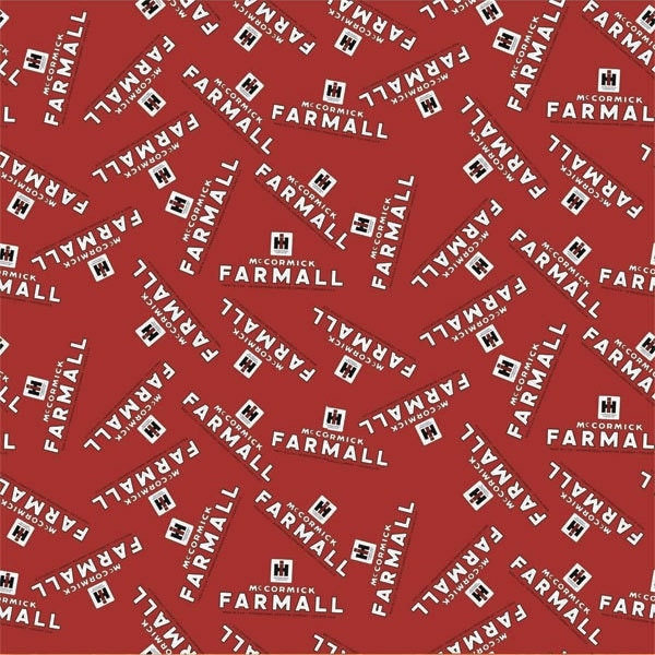 Ih Farmall Tractor Red Logo Fabric Cotton Sold By The Yard