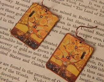 Klimt earrings Klimt jewelry Tree of Life mixed media jewelry wearable art