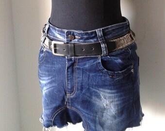 90s black leather  belt, studded metal belt, rocker  style,black and silver metal beads belt.