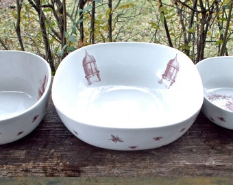 Large Bee Bowl Set, DISCOUNTED SECOND, Three Bee Keepers Porcelain Serving Bowls, Antique Skeps Beekeeping,  Unusual, Ready to Ship
