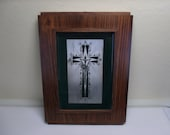 Vintage Sterling & Rosewood Framed Crucifix Signed Sacro Italy Mid Century
