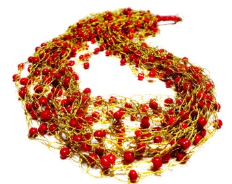 Golden Yellow Crochet Necklace with Various Glass Beads White Multistrand Crochet Necklace Coral Red Necklace Coffee Brown Crochet Necklace