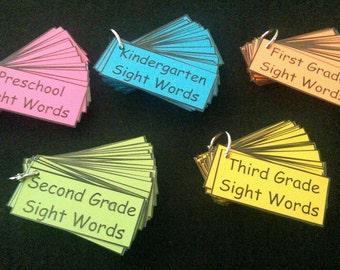 Sight Words - Preschool, Kindergarten, First Grade, Second Grade, Third Grade - Laminated - Dolch Words - Homeschool - Teacher Resources