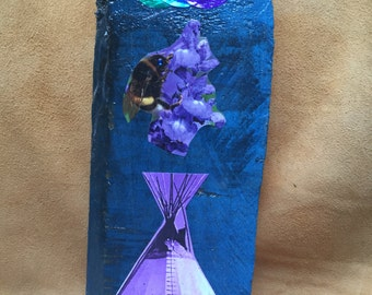 Purple Tipi Collage on Wood