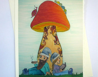 printed greeting card, colorful gnome design, blank inside Ivory card with deckle edge, envelope included.