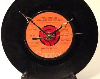"""Recycled HELEN REDDY 7"""" Record / You And Me Againts The World / Record Clock"""