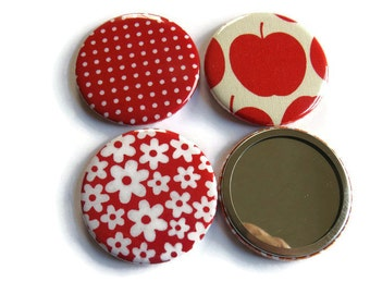 Set of 3  Red Fabric Covered Pocket Mirror - Fabric Covered Handbag Mirror - Small Handbag Mirror