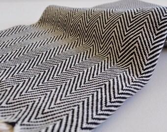 Chevron Pattern Turkish Towel Peshtemal towel in ivory Black color hand loomed cotton peshtemal