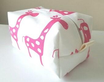 BACK 2 SCHOOL SALE Pink Giraffe Waterproof Makeup Bag - Cosmetic Bag - Water Resistant Bag