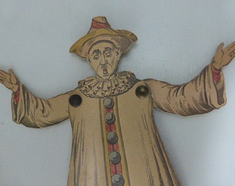 Articulated Clown, Pierrot, Marionette Puppet French Vintage. Circa 1925